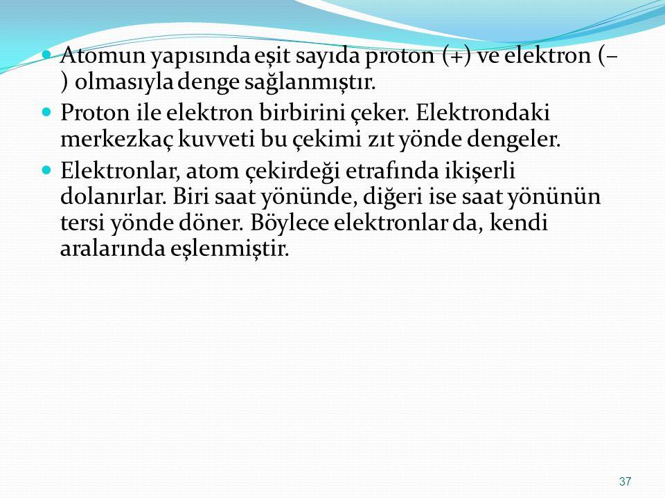 Atomun yapısında eşit sayıda proton (+) ve elektron (–) olmasıyla denge sağlanmıştır.