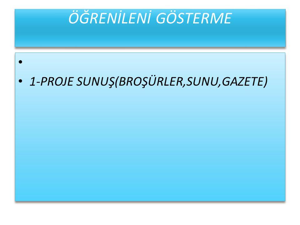 ÖĞRENİLENİ GÖSTERME 1-PROJE SUNUŞ(BROŞÜRLER,SUNU,GAZETE)