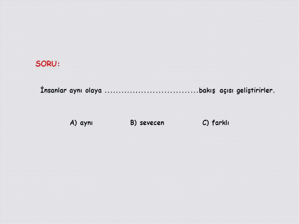 SORU: İnsanlar aynı olaya .................................bakış açısı geliştirirler. A) aynı. B) sevecen.
