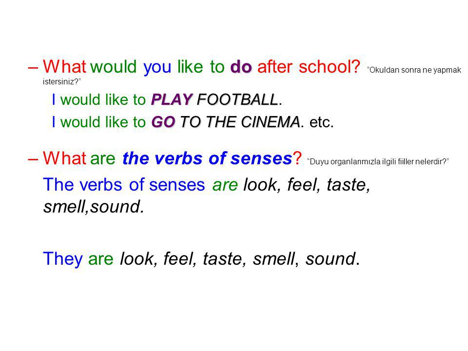 The verbs of senses are look, feel, taste, smell,sound.