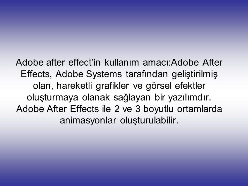 Adobe after effect'in kullanım amacı:Adobe After Effects, Adobe Systems tarafından geliştirilmiş olan, hareketli grafikler ve görsel efektler oluşturmaya olanak sağlayan bir yazılımdır.