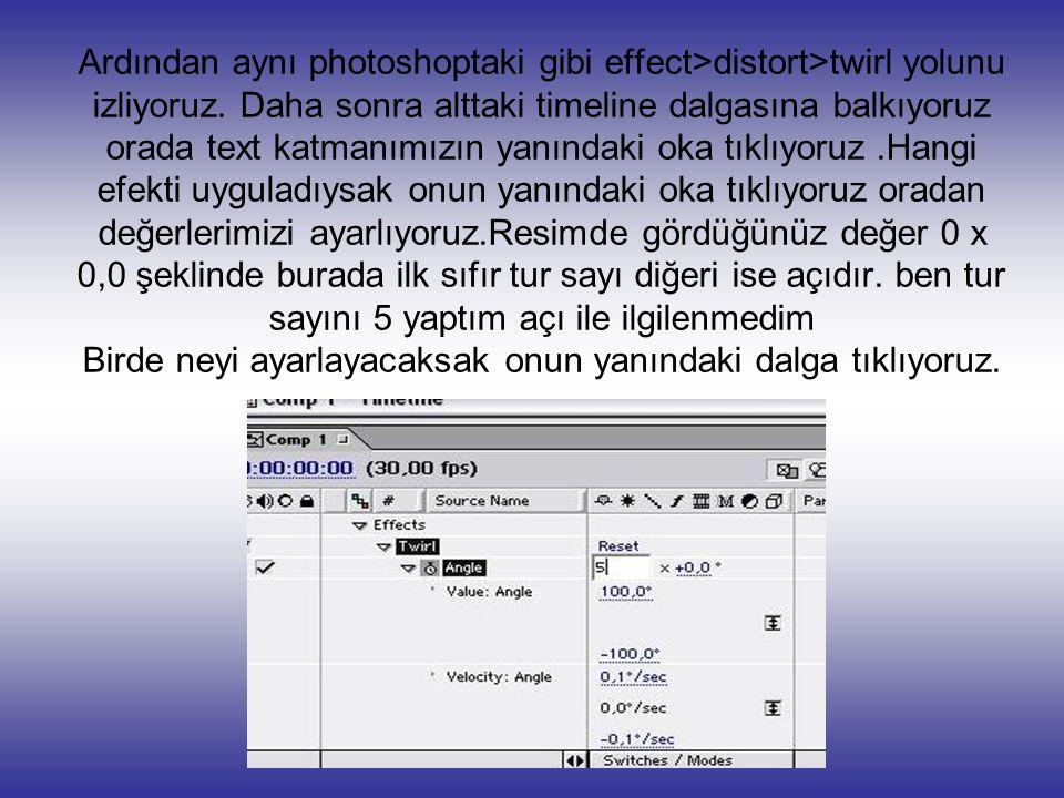 Ardından aynı photoshoptaki gibi effect>distort>twirl yolunu izliyoruz.