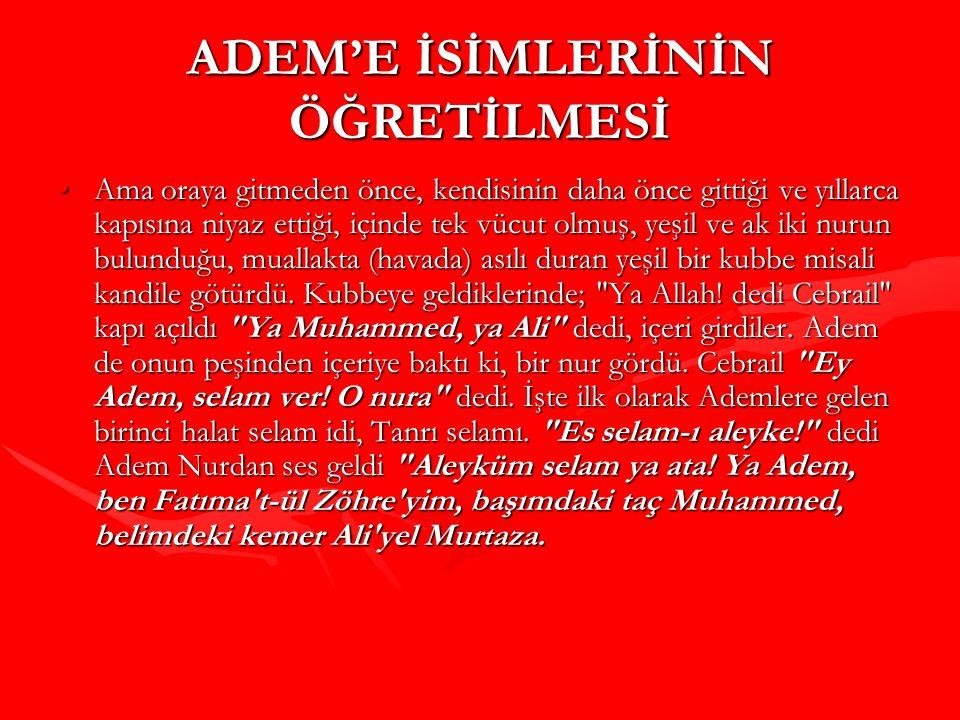 ADEM'E İSİMLERİNİN ÖĞRETİLMESİ