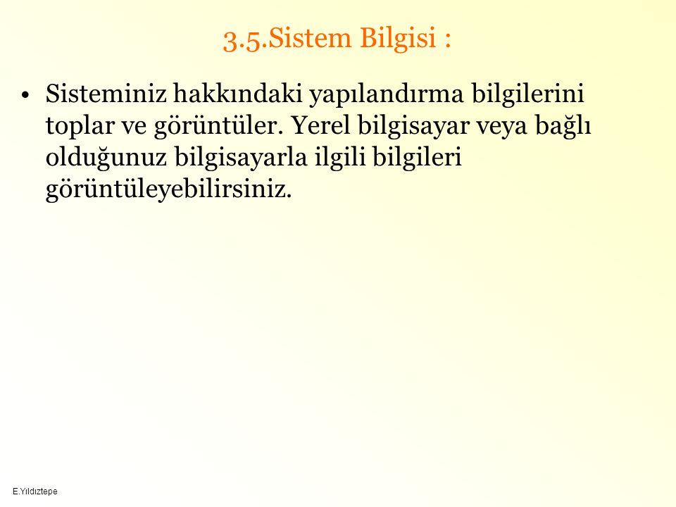 3.5.Sistem Bilgisi :