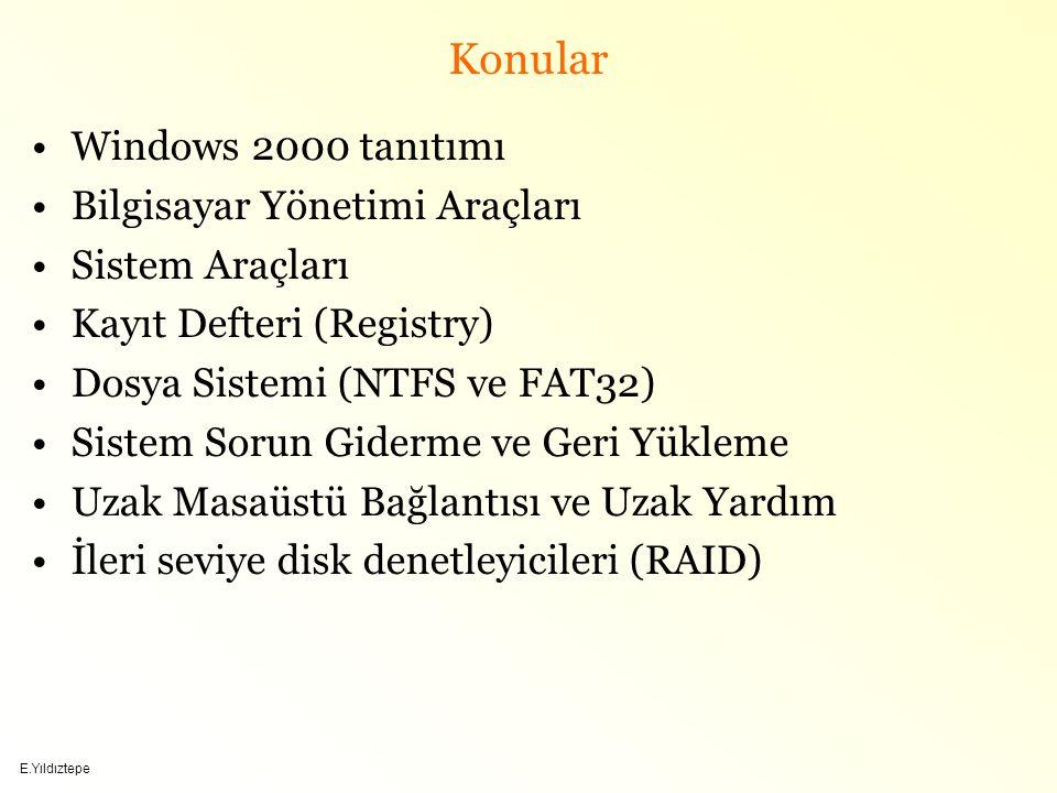 Konular Windows 2000 tanıtımı Bilgisayar Yönetimi Araçları