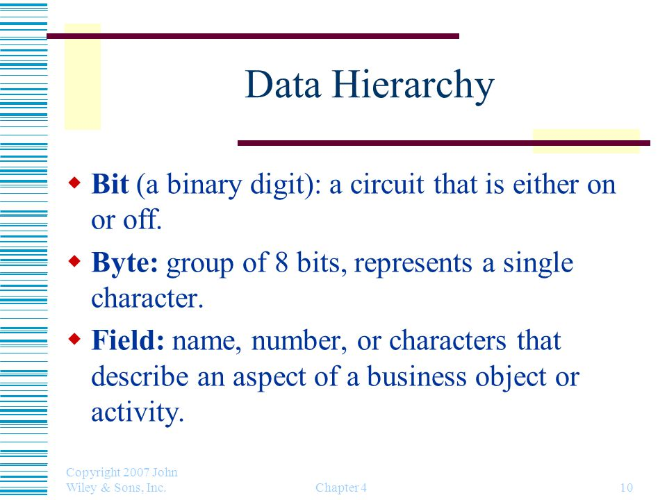 Data Hierarchy Bit (a binary digit): a circuit that is either on or off. Byte: group of 8 bits, represents a single character.