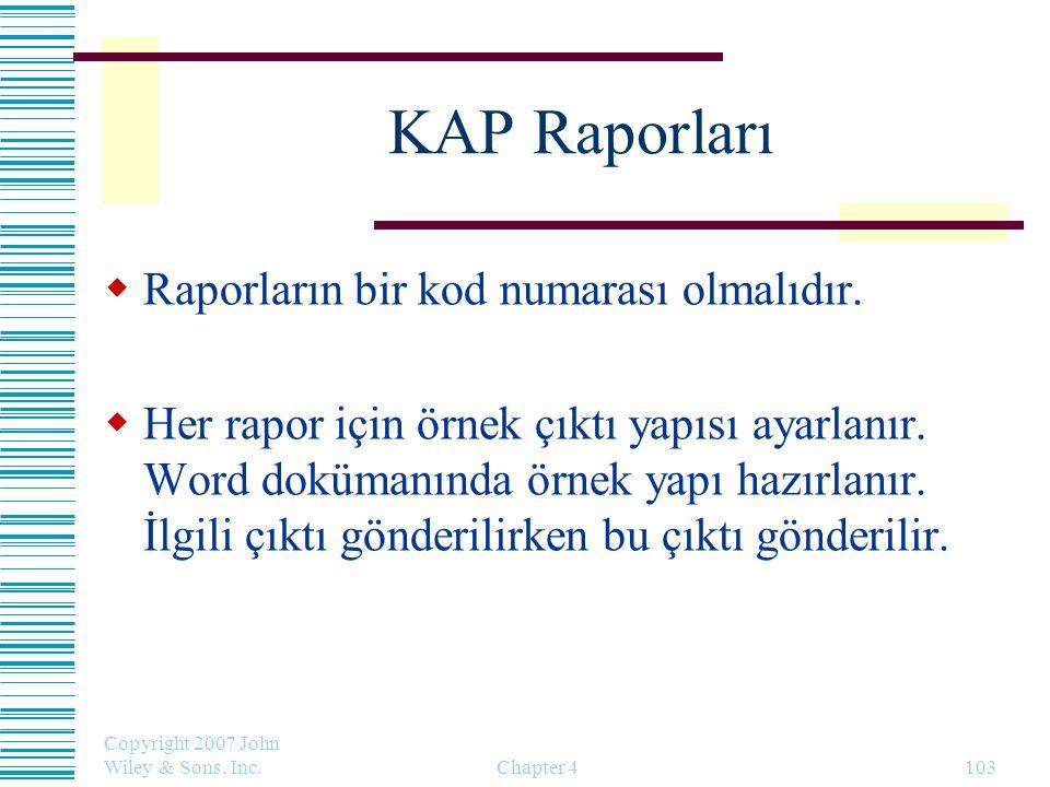 KAP Raporları Raporların bir kod numarası olmalıdır.