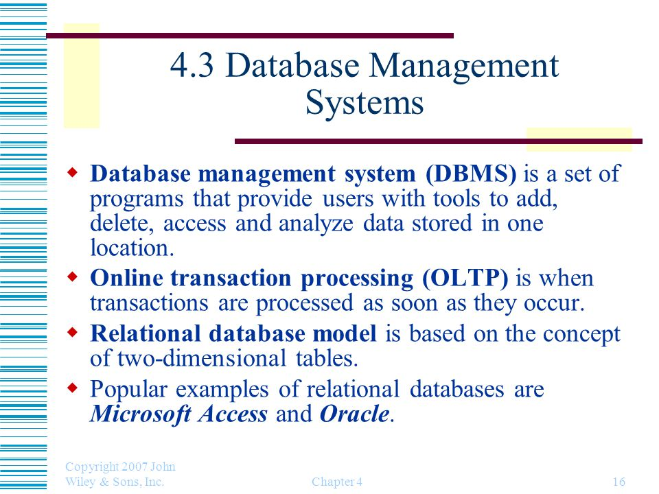 4.3 Database Management Systems
