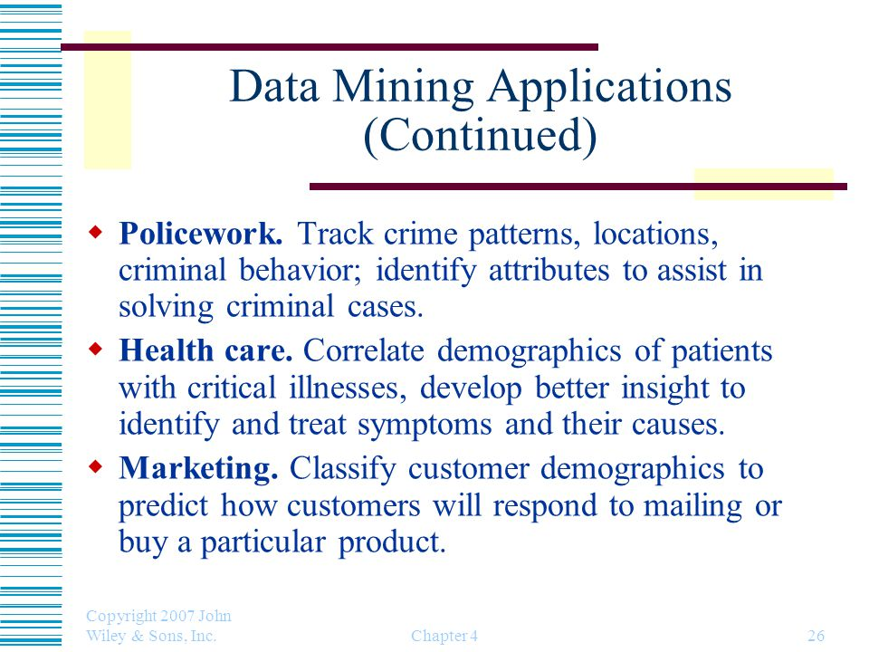 Data Mining Applications (Continued)
