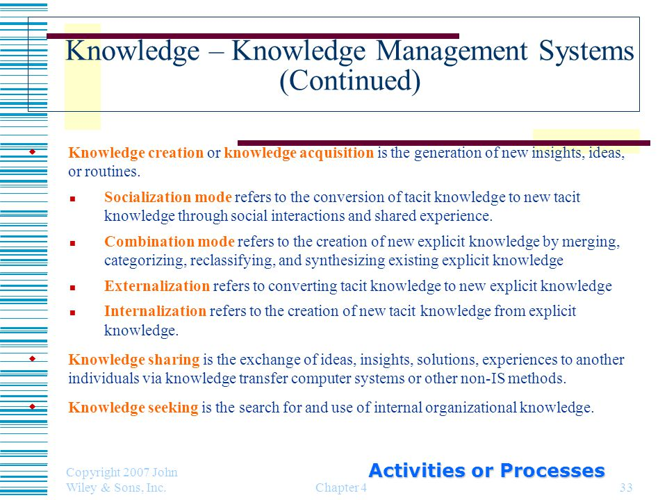 Knowledge – Knowledge Management Systems (Continued)