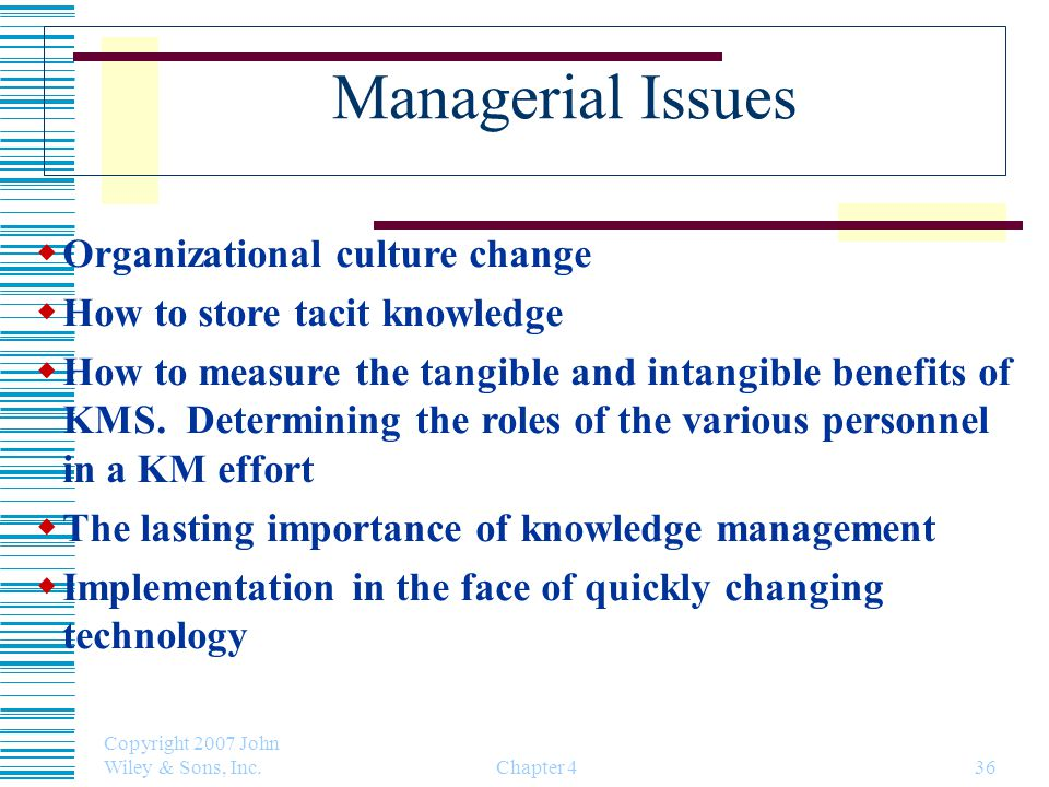 Managerial Issues Organizational culture change
