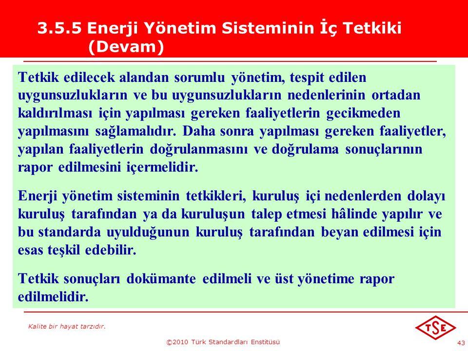3.5.5 Enerji Yönetim Sisteminin İç Tetkiki (Devam)