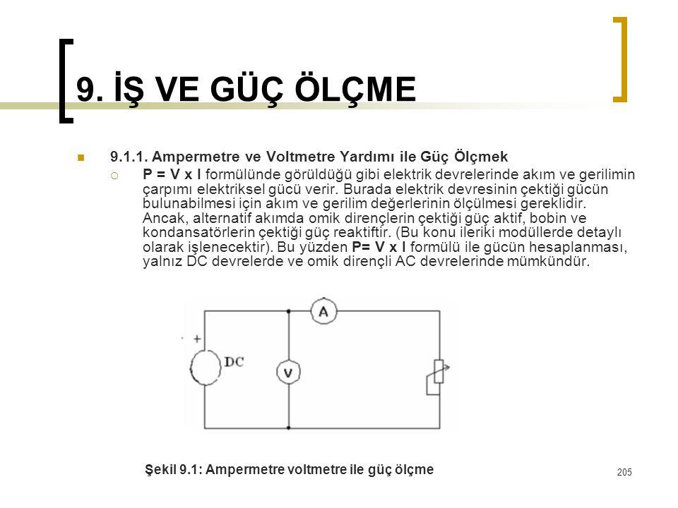 9. İŞ VE GÜÇ ÖLÇME 9.1.1. Ampermetre ve Voltmetre Yardımı ile Güç Ölçmek.