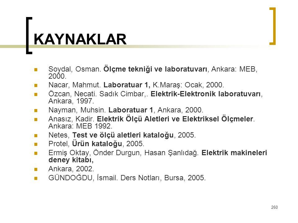 KAYNAKLAR Soydal, Osman. Ölçme tekniği ve laboratuvarı, Ankara: MEB, 2000. Nacar, Mahmut. Laboratuar 1, K.Maraş: Ocak, 2000.