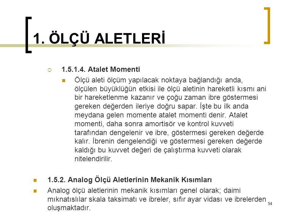 1. ÖLÇÜ ALETLERİ 1.5.1.4. Atalet Momenti