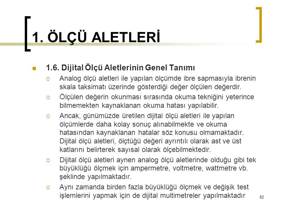 1. ÖLÇÜ ALETLERİ 1.6. Dijital Ölçü Aletlerinin Genel Tanımı