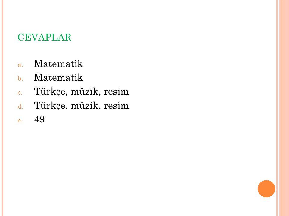 cevaplar Matematik Türkçe, müzik, resim 49