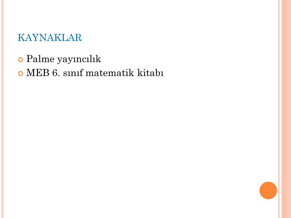 kaynaklar Palme yayıncılık MEB 6. sınıf matematik kitabı