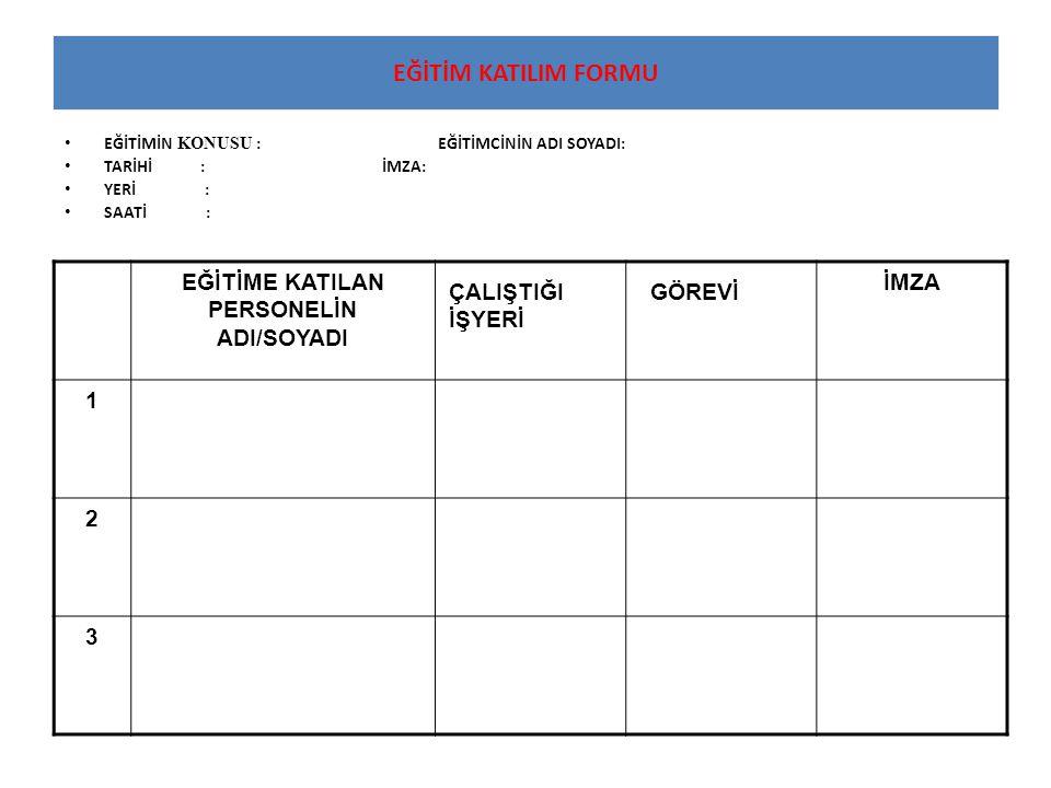 EĞİTİME KATILAN PERSONELİN ADI/SOYADI