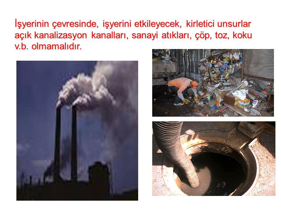 İşyerinin çevresinde, işyerini etkileyecek, kirletici unsurlar açık kanalizasyon kanalları, sanayi atıkları, çöp, toz, koku v.b.