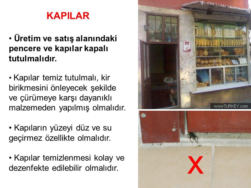KAPILAR Üretim ve satış alanındaki pencere ve kapılar kapalı tutulmalıdır.