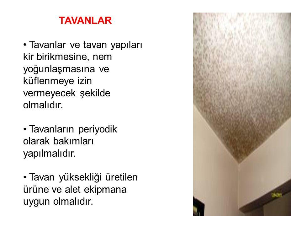 TAVANLAR • Tavanlar ve tavan yapıları kir birikmesine, nem yoğunlaşmasına ve küflenmeye izin vermeyecek şekilde olmalıdır.