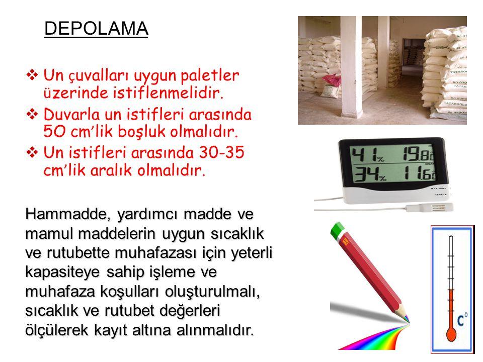 DEPOLAMA Un çuvalları uygun paletler üzerinde istiflenmelidir. Duvarla un istifleri arasında 5O cm'lik boşluk olmalıdır.