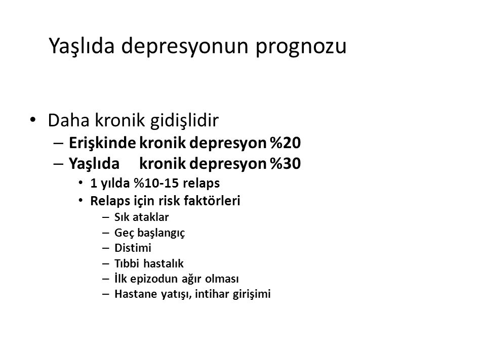 Yaşlıda depresyonun prognozu