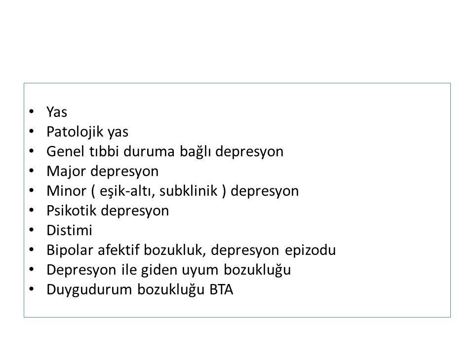 Yas Patolojik yas. Genel tıbbi duruma bağlı depresyon. Major depresyon. Minor ( eşik-altı, subklinik ) depresyon.