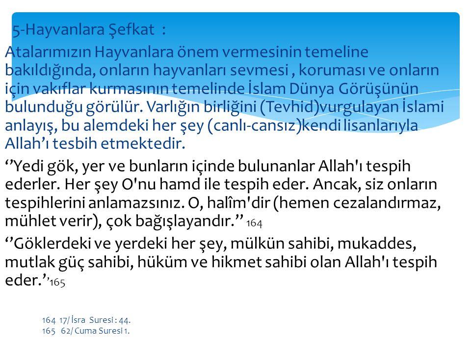 5-Hayvanlara Şefkat : Atalarımızın Hayvanlara önem vermesinin temeline bakıldığında, onların hayvanları sevmesi , koruması ve onların için vakıflar kurmasının temelinde İslam Dünya Görüşünün bulunduğu görülür. Varlığın birliğini (Tevhid)vurgulayan İslami anlayış, bu alemdeki her şey (canlı-cansız)kendi lisanlarıyla Allah'ı tesbih etmektedir. ''Yedi gök, yer ve bunların içinde bulunanlar Allah ı tespih ederler. Her şey O nu hamd ile tespih eder. Ancak, siz onların tespihlerini anlamazsınız. O, halîm dir (hemen cezalandırmaz, mühlet verir), çok bağışlayandır.'' 164 ''Göklerdeki ve yerdeki her şey, mülkün sahibi, mukaddes, mutlak güç sahibi, hüküm ve hikmet sahibi olan Allah ı tespih eder.''165