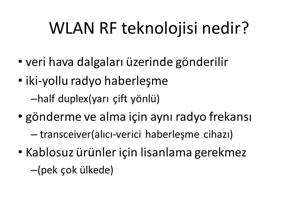 WLAN RF teknolojisi nedir