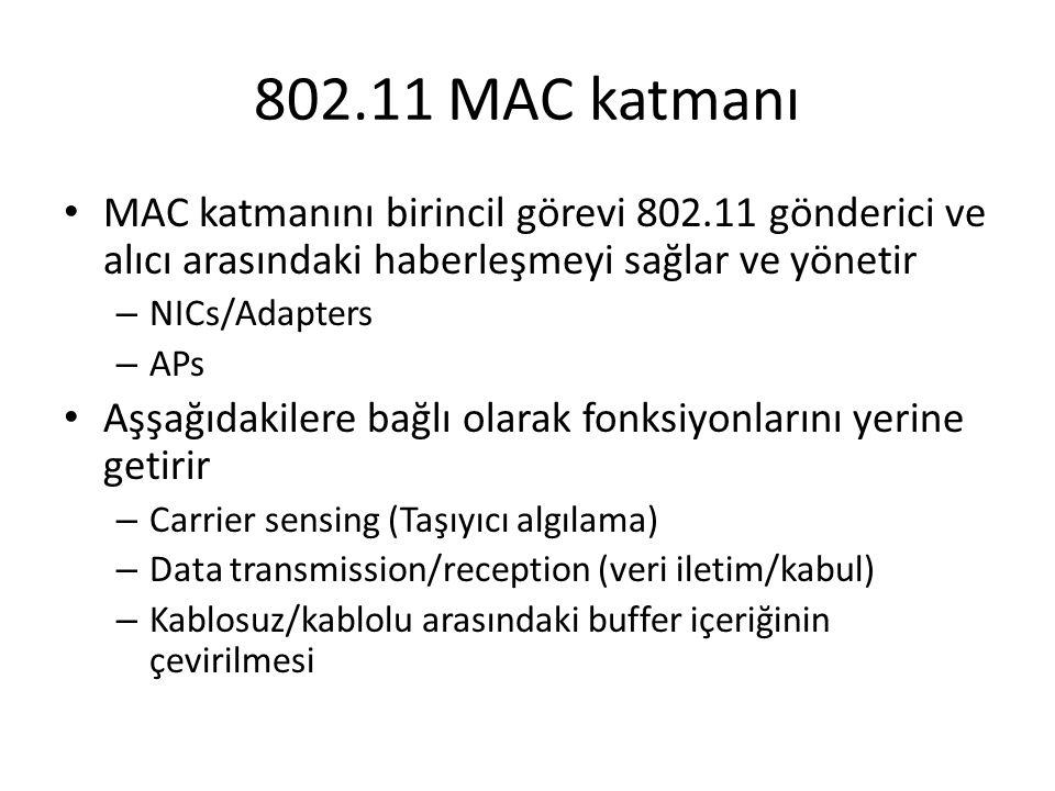 802.11 MAC katmanı MAC katmanını birincil görevi 802.11 gönderici ve alıcı arasındaki haberleşmeyi sağlar ve yönetir.