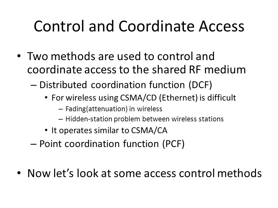 Control and Coordinate Access