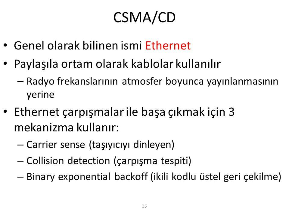 CSMA/CD Genel olarak bilinen ismi Ethernet
