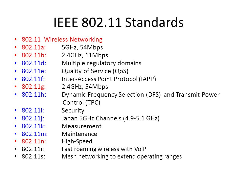 IEEE 802.11 Standards 802.11 Wireless Networking 802.11a: 5GHz, 54Mbps