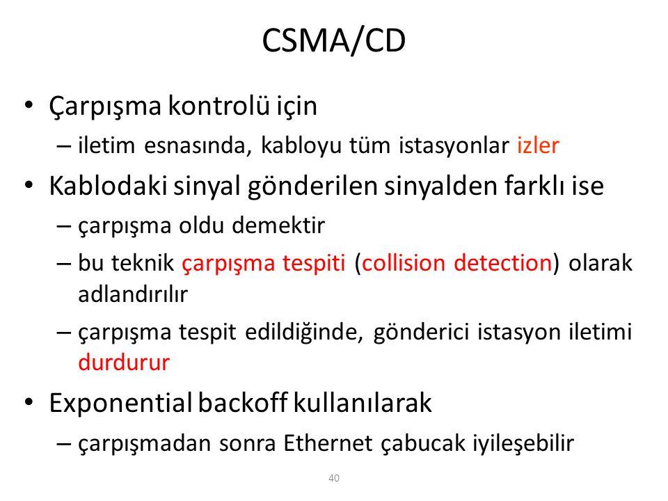 CSMA/CD Çarpışma kontrolü için