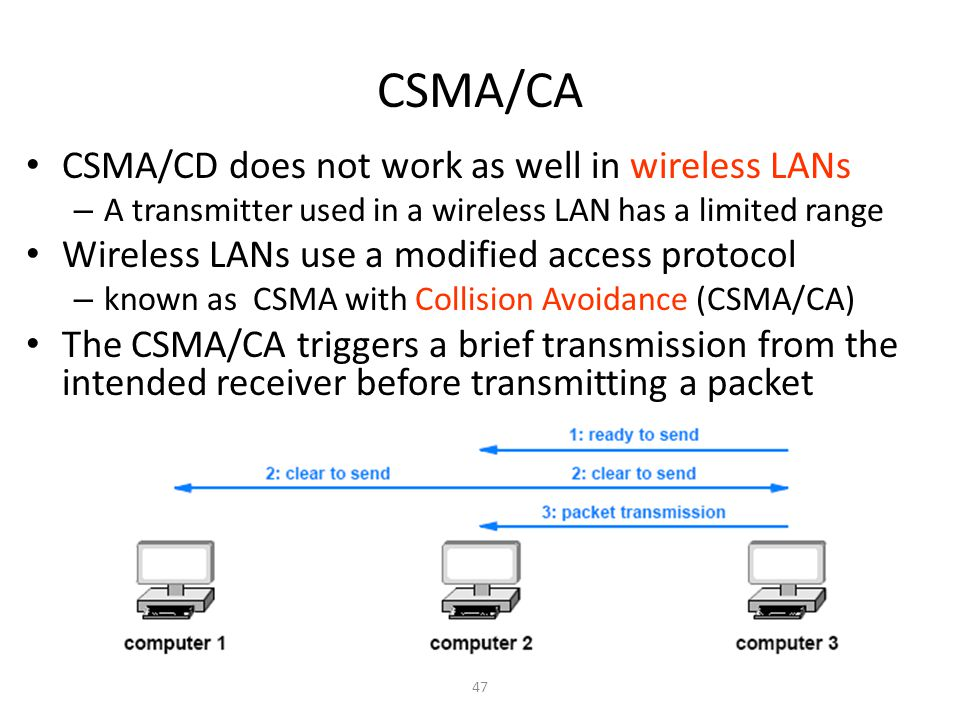 CSMA/CA CSMA/CD does not work as well in wireless LANs