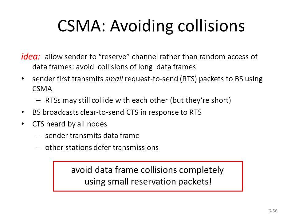 CSMA: Avoiding collisions