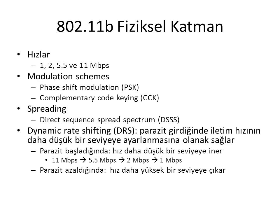 802.11b Fiziksel Katman Hızlar Modulation schemes Spreading