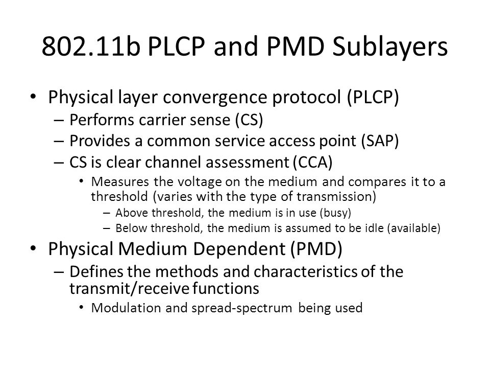 802.11b PLCP and PMD Sublayers