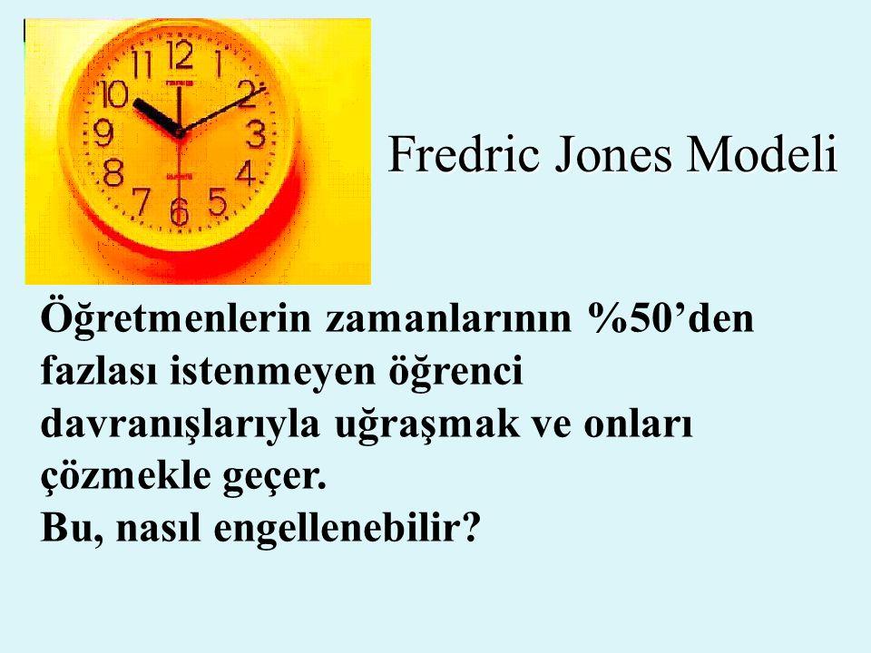 Fredric Jones Modeli Öğretmenlerin zamanlarının %50'den fazlası istenmeyen öğrenci davranışlarıyla uğraşmak ve onları çözmekle geçer.