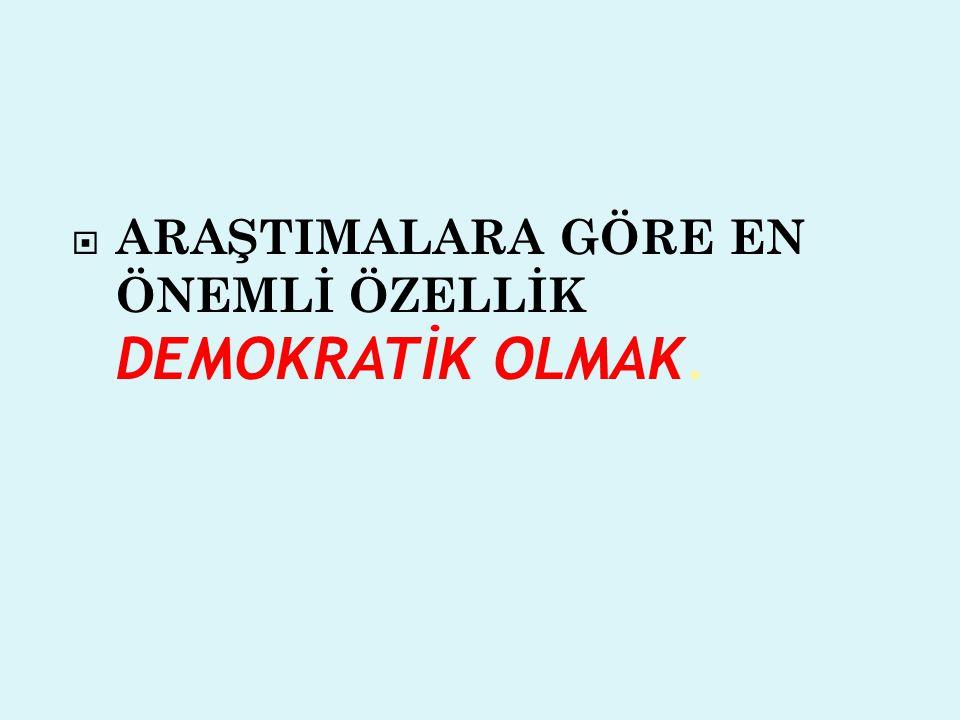 ARAŞTIMALARA GÖRE EN ÖNEMLİ ÖZELLİK DEMOKRATİK OLMAK.