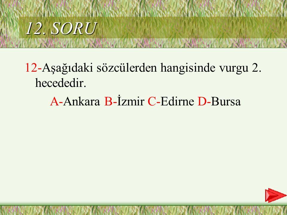 12. SORU 12-Aşağıdaki sözcülerden hangisinde vurgu 2. hecededir.