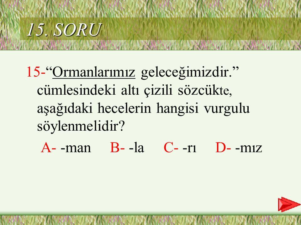 15. SORU 15- Ormanlarımız geleceğimizdir. cümlesindeki altı çizili sözcükte, aşağıdaki hecelerin hangisi vurgulu söylenmelidir