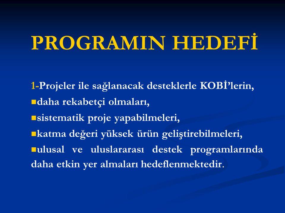 PROGRAMIN HEDEFİ 1-Projeler ile sağlanacak desteklerle KOBİ'lerin,