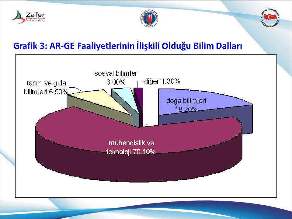 Grafik 3: AR-GE Faaliyetlerinin İlişkili Olduğu Bilim Dalları