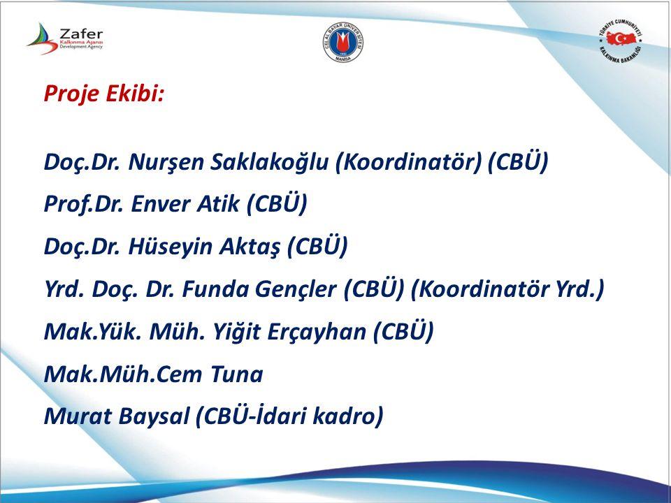 Proje Ekibi: Doç.Dr. Nurşen Saklakoğlu (Koordinatör) (CBÜ) Prof.Dr. Enver Atik (CBÜ) Doç.Dr. Hüseyin Aktaş (CBÜ)