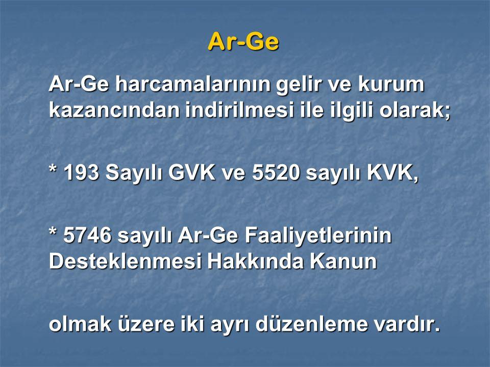 Ar-Ge Ar-Ge harcamalarının gelir ve kurum kazancından indirilmesi ile ilgili olarak; * 193 Sayılı GVK ve 5520 sayılı KVK,