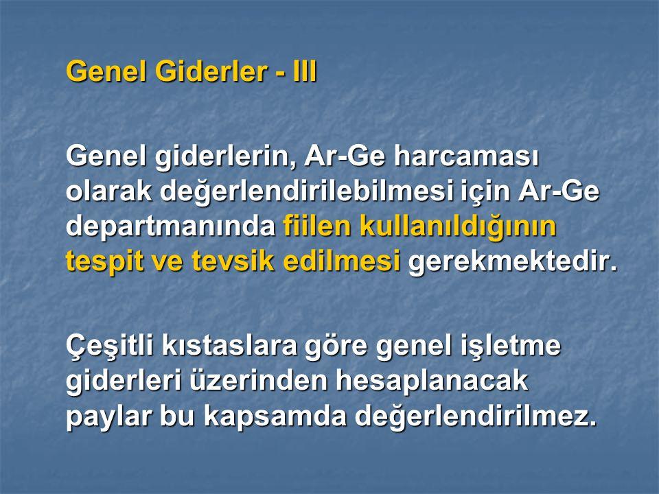 Genel Giderler - III