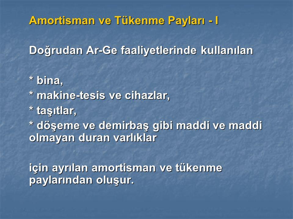 Amortisman ve Tükenme Payları - I